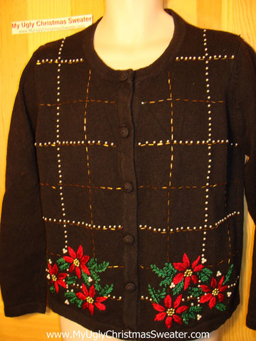 Tacky Ugly Christmas Sweater with Bling Poinsettias (f47)