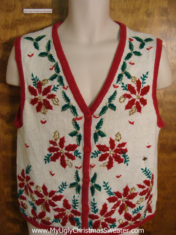 Ugly Christmas Jumper Vest with Poinsettias