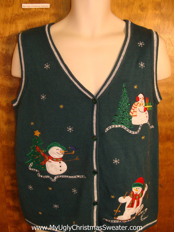 Skiing and Playing Snowmen Ugly Christmas Jumper Vest