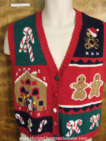 Gingerbread and CandyCanes Ugly Christmas Jumper Vest
