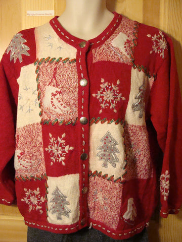 Tacky Red Ugly Christmas Sweater with Skates (f480)