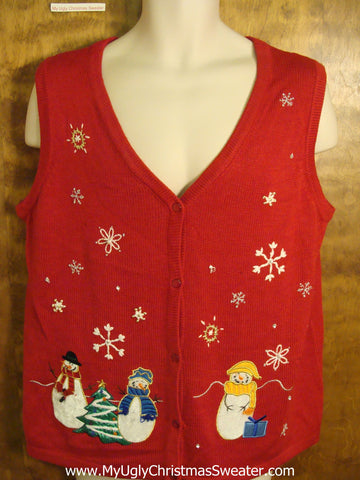 Ugly Red Christmas Jumper Vest with Colorful Snowmen