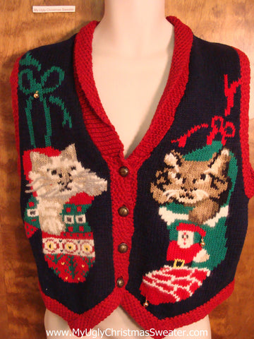Crazy Cat Lady Ugly Christmas Jumper Vest