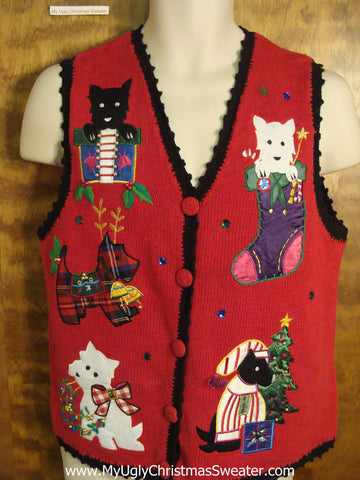 Dogs at the Holidays Ugly Christmas Jumper Vest