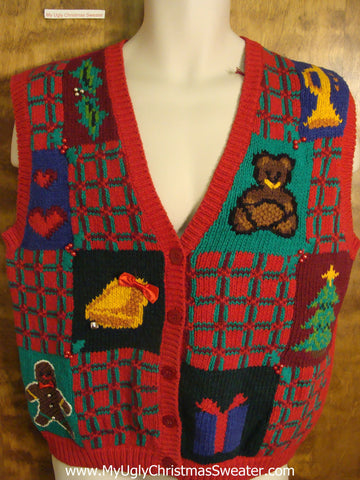 Plaid 80s Awful Ugly Christmas Jumper Vest