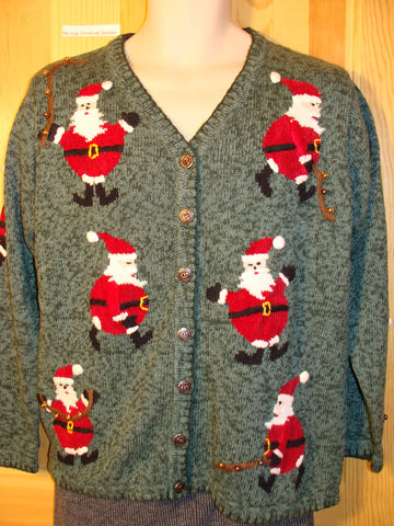 Tacky Ugly Christmas Sweater with Real Jingle Bells and Santa (f481)