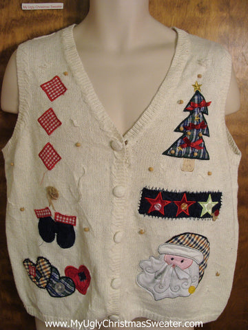 Cute Plaid Themed Ugly Christmas Jumper Vest