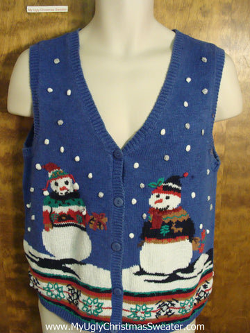 Cute Blue Ugly Christmas Jumper Vest with Snowmen