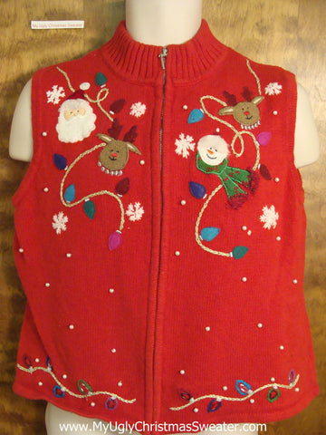 Funny Red Ugly Christmas Jumper Vest with Santa and Reindeer