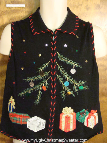 Awful Black Ugly Christmas Jumper Vest