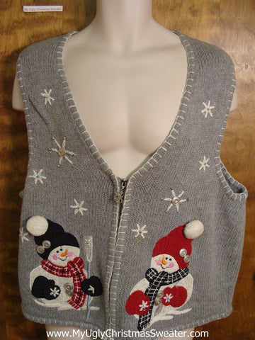 Ugly Grey Christmas Jumper Vest with Snowmen