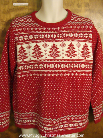 Classic Nordic Style Red Ugly Christmas Jumper