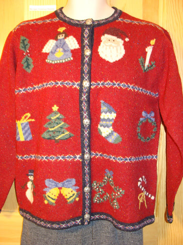 Tacky Ugly Christmas Sweater 2sided with Angel, Tre, Gift, Stocking, Candy Cane, Candle, Snowman, Wreath, Bell, Star (f483)