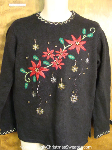 Cheap Poinsettia Themed Ugly Christmas Jumper