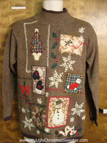 Tacky Brown Busy Ugly Christmas Jumper