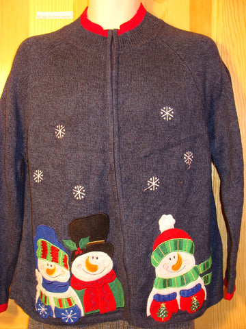 Tacky Ugly Christmas Sweater with Snowmen (f484)