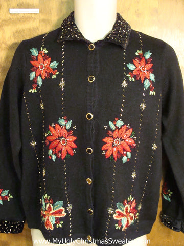 Cheap Tacky Poinsettias Christmas Jumper