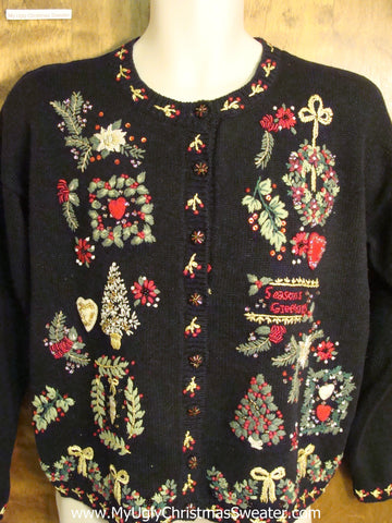 Ornate Horrible Black Ugly Christmas Jumper