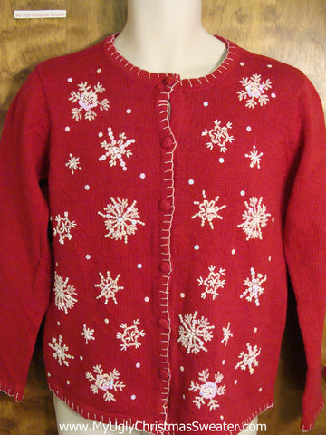 Cute Snowflake Themed Red Ugly Christmas Jumper