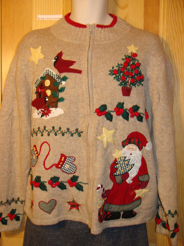 Tacky Ugly Christmas Sweater with Crafty Santa, Tree, Bird, and Mittens  (f485)