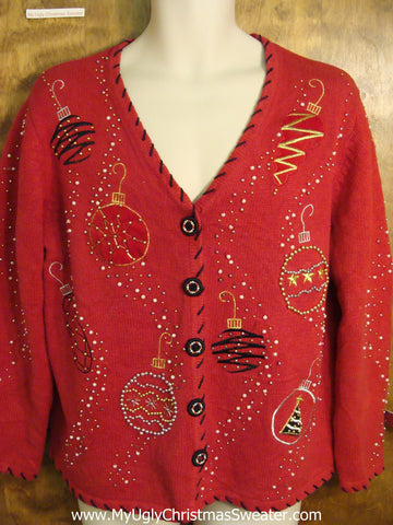 Horrible Bling Ornaments Red Ugly Christmas Jumper