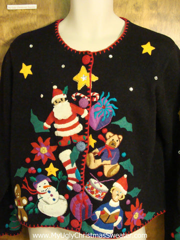 Tree Pyramid 80s Style Colorful Ugly Christmas Jumper