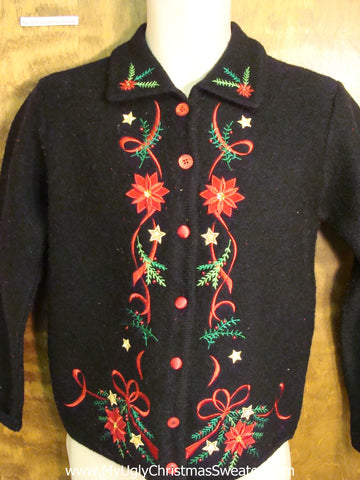 Cheap Ugly Christmas Jumper with Poinsettias