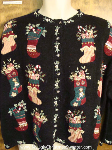 Two Sided 80s Mess with Stockings Ugly Christmas Jumper