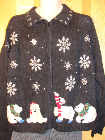 Tacky Ugly Christmas Sweater with Winter Wonderland of Snowflakes and Bears (f486)