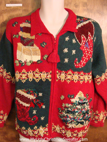 Ornate 80s 2sided Red Ugly Christmas Jumper