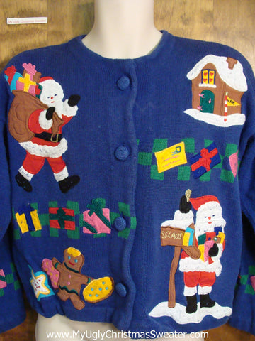 Great BACK and FRONT 80s Ugly Christmas Jumper