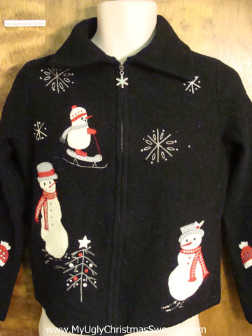 Sporty Snowmen Black Ugly Christmas Jumper
