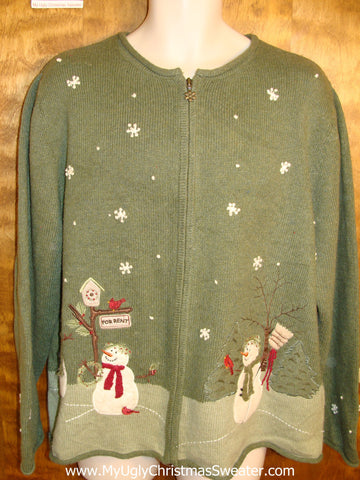 Green 2sided Snowman Themed Ugly Christmas Jumper