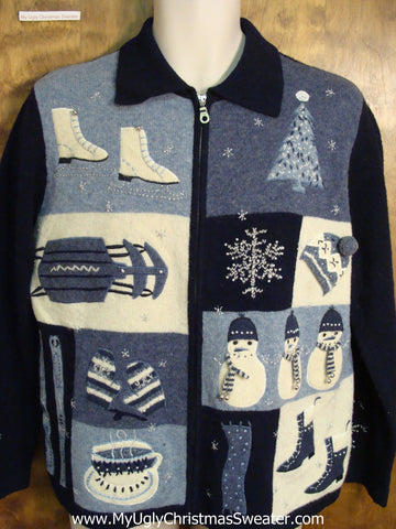 Blue Winter Sports Themed Ugly Christmas Jumper
