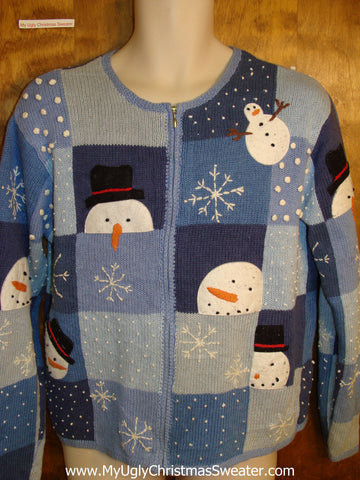 Funny Carrot Nosed Peeking Snowmen Ugly Christmas Jumper