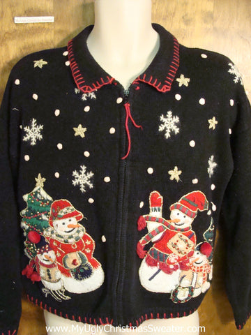 Snowman Families 80s Ugly Christmas Jumper