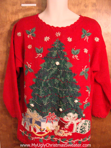 Great 80s Red Ugly Christmas Jumper