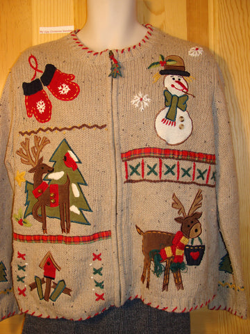 Tacky Ugly Christmas Sweater with Reindeer and Crafty Accents (f488)