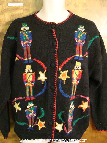 Ugly Christmas Sweater with Colorful Nutcrackers