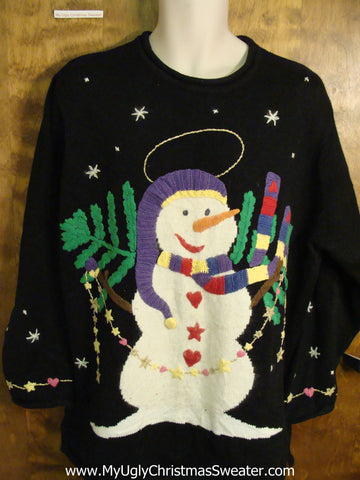 Ugly Christmas Sweater with Happy Snowman