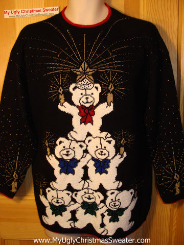 Tacky Ugly Christmas Sweater Vintage 80s Bear Pyramid  (f48)