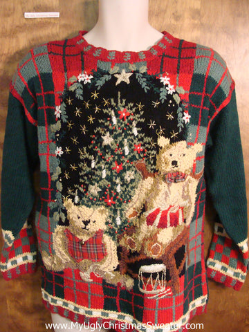 Teddy Bears by The Tree 80s Ugly Christmas Sweater