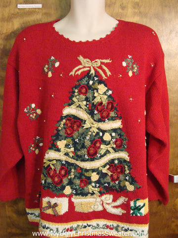 Ugly 80s Christmas Sweater with Festive Tree