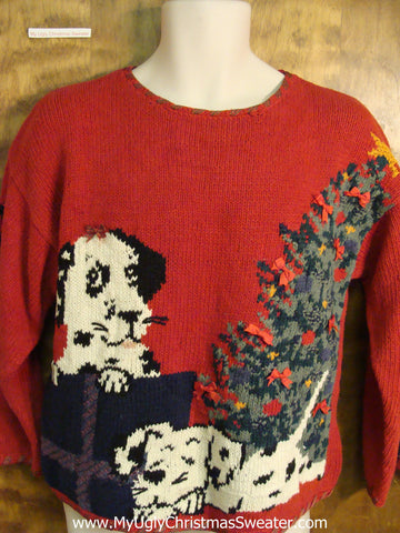 Dogs by the Tree Ugly Christmas Sweater