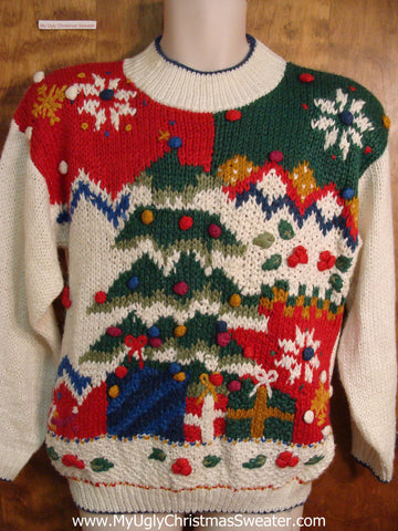 Colorful 80s Ugly Christmas Sweater