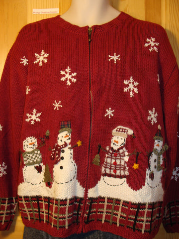 Tacky Ugly Christmas Sweater Snowmen and Snowflakes with Crafty Plaid Trim (f490)