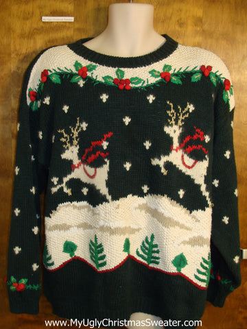 Leaping Reindeer 2sidedUgly Christmas Sweater