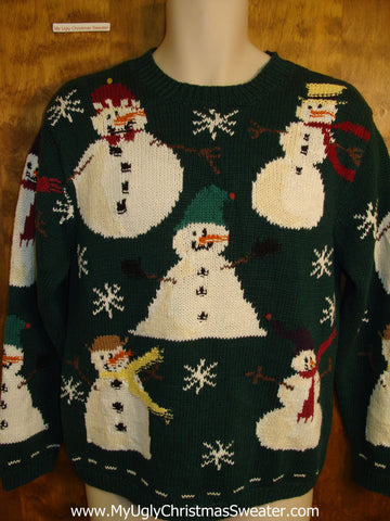 Snowman Party 80s Ugly Christmas Sweater