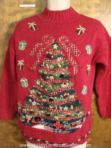 Ugly Red Christmas Sweater with Tree