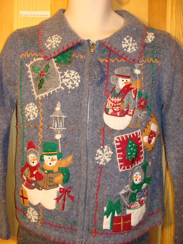 Tacky Ugly Christmas Sweater with Festive Snowmen in a Crafty Themed Mess of Decorations  (f491)